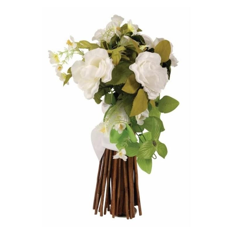 bouquet artificiel fleurs ecru ruban satin blanc. Black Bedroom Furniture Sets. Home Design Ideas