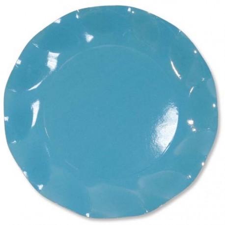 10 Assiettes Jetables Corolle Turquoise 27cm