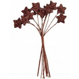 Bouquet 12 Etoiles paillettes Chocolat