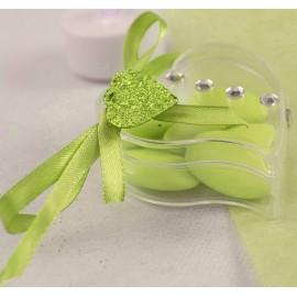 12 Confettis Coeur Paillettes Vert Anis
