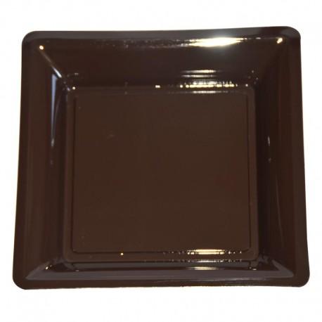 12 Assiettes Jetables Carrées Chocolat 16,5 x 16,5