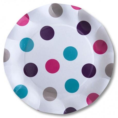 10 assiettes corolle blanc à pois 27cm