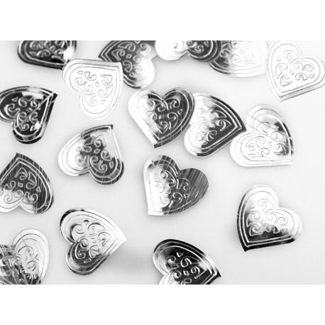 100 Confettis Coeur Argent