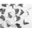 100 Confettis Gros Coeur Argent