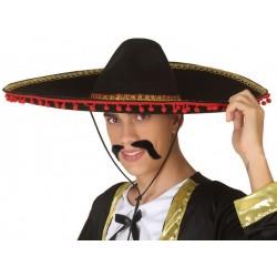 Sombrero Mexicain Pompons Rouge