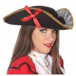 Tricorne Noir de Pirate avec Dentelle