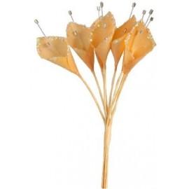 12 Fleurs ARUM Tissu ORANGE Paillettes