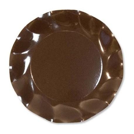 10 Assiettes Jetables Corolle Chocolat 21cm