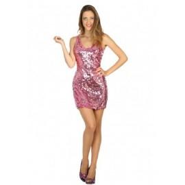Déguisement Robe Disco Rose Femme