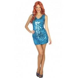 Déguisement Robe Disco Bleu Femme