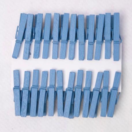 24 Mini Pince à Linge Bois Turquoise