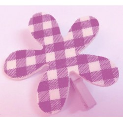 6 Pince à Linge Fleur Vichy Violet et Blanc