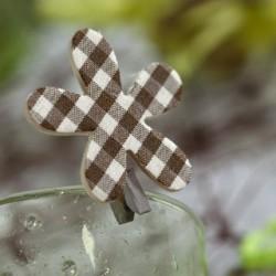 6 Pince à Linge Fleur Vichy Chocolat