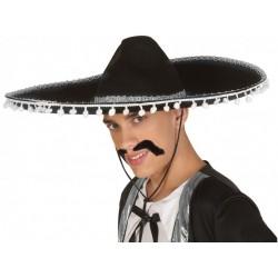 Sombrero Mexicain Pompons Blanc