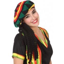 Chapeau Perruque Noire Rasta