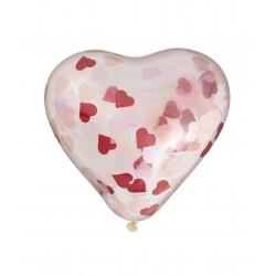 6 Ballons Confettis Coeur