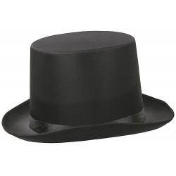 Chapeau Haut de Forme Noir en Satin