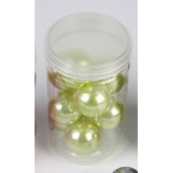 10 Grosses Perles Nacrées Vert Anis 24mm