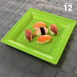 12 Assiettes Plastique Carrées vert Anis 18 x 18