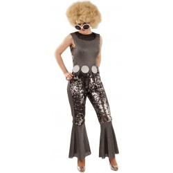 Déguisement Femme Disco Noir/Argent