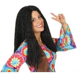 Perruque Noire Longue Hippie