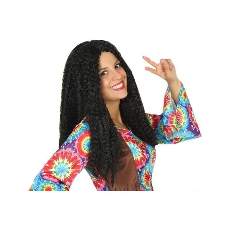 Noir Hippie Perruque Long Lisse-Messieurs Flower Power