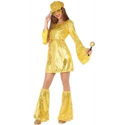 Déguisement Femme Robe Disco Doré