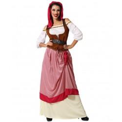 Déguisement Servante Médiévale Rose Femme